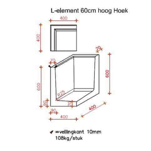 L-hoekelementen antraciet 60 cm