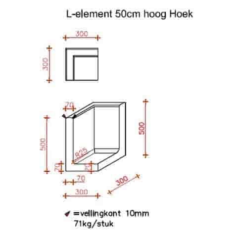 L-hoekelementen antraciet 50 cm