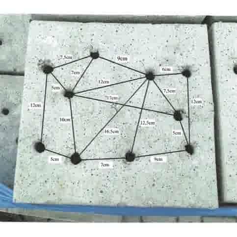 Prefab Betonpoer grijs 30x30x20 cm met 10 gaten