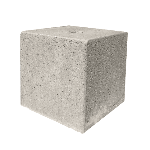 Prefab Betonpoer grijs 30x30x30 cm met gat Ø 8,5 cm