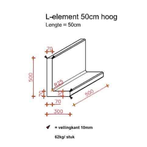 L-elementen grijs 50 cm hoog, 50 cm breed