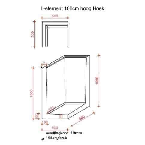 L-hoekelementen antraciet 100 cm