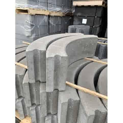 Boordsteen bochtstuk grijs 10x20x78,5 cm R=0,5