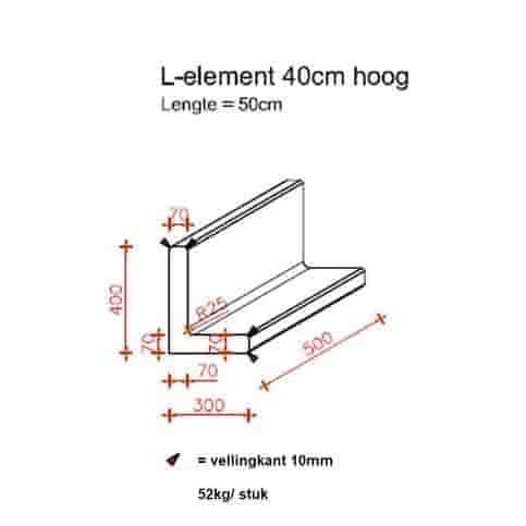 L elementen 40 cm hoog en 50 cm breed antraciet
