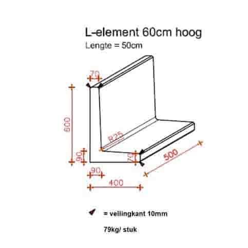 L elementen 60 cm hoog en 50 cm breed grijs