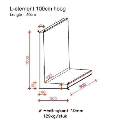 L elementen 100 cm hoog en 50 cm breed antraciet